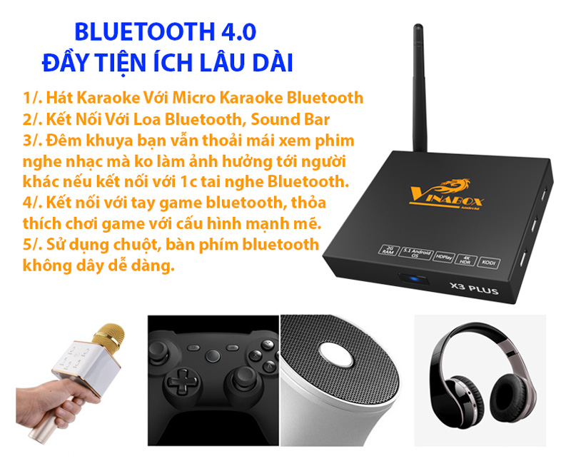 TIVI BOX VINABOX X3 PLUS - CHẠY ANDROID GOOLGE TV 6.0 RAM 2G