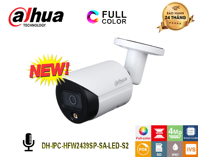 Camera IP DAHUA 4MP Full-Color Starlight - DH-IPC-HFW2439SP-SA-LED-S2 - Tích hợp Mic